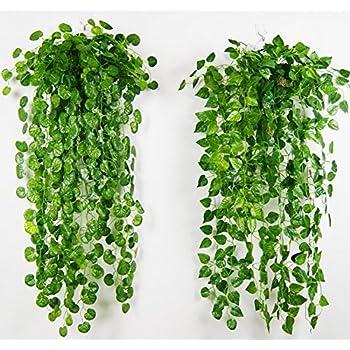 Amazon.com: 4 Bunches Green Artificial Silk Hanging Vine Plant ...