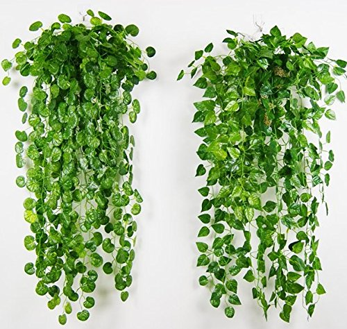 4 Bunches Green Artificial Silk Hanging Vine Plant Leaves for Home Garden Outdoor Wall Decoration