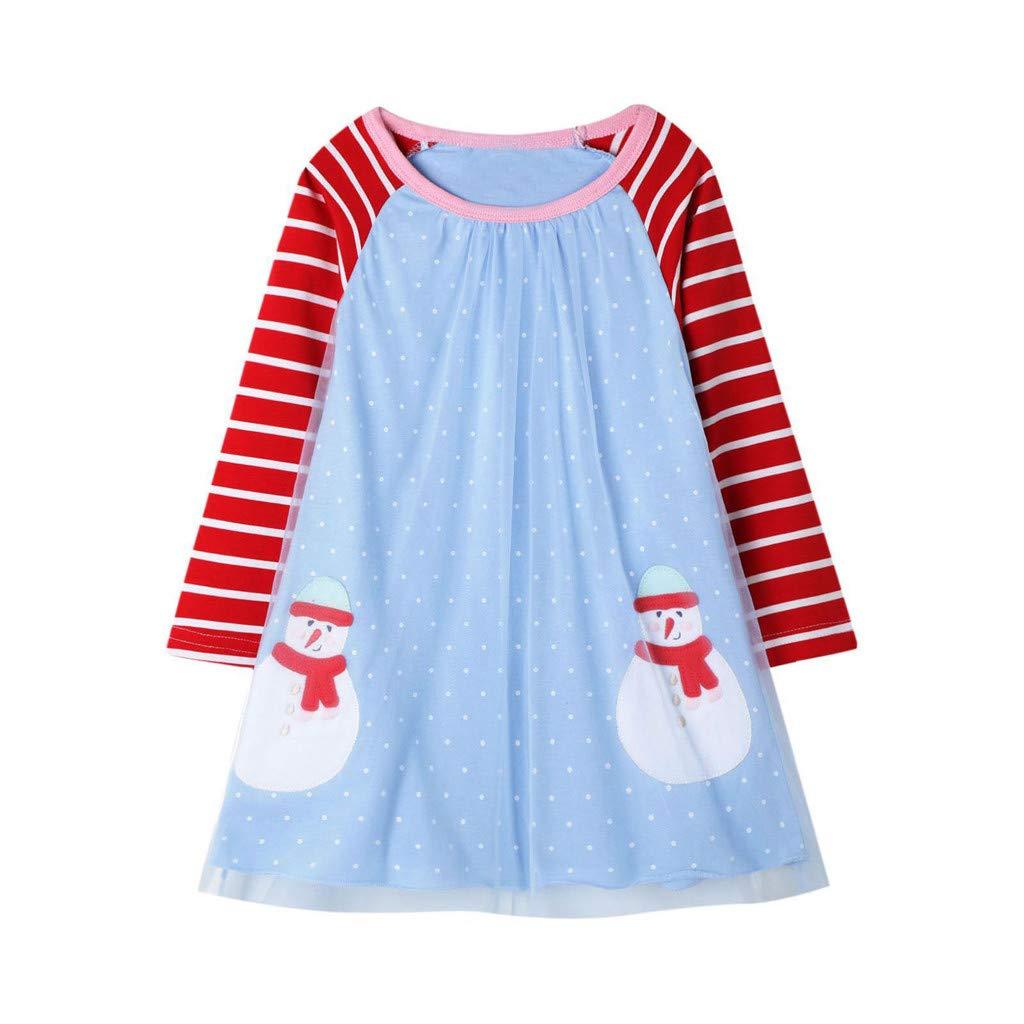 Yearnly M/ädchen Langarm Gepunktete Prinzessin Casual T/üll Streifen Baumwolle Herbst Winter T-Shirt Kleid Weihnachten Partykleid f/ür 2-7 Jahre