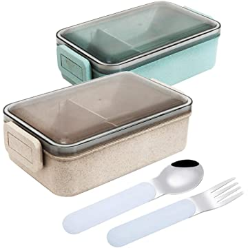 Bento Box Eco-friendly Lunch Box Wheat Straw Food Storage Package Includes 2 Boxes with 1 Small Free Spoon and Fork Suitable for Adults&Kids 6x4x2Inches 0.78L per Box