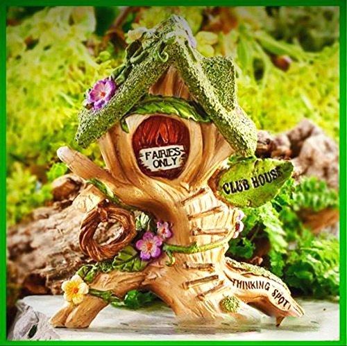 Fairy Garden Miniature Wee Fairies Club House Resin Dollhouse Figurine - My Mini Fairy Garden Dollhouse Accessories for Outdoor or House Decor - Dollhouse Club