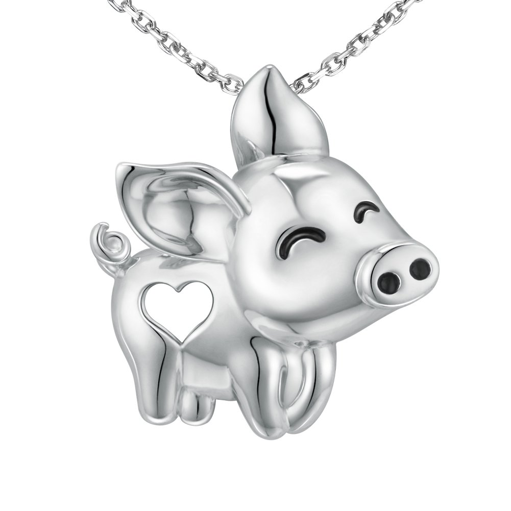 MANBU 925 Sterling Silver Charm Heart Cute Animal Pig Pendant Necklace Gifts for Girls