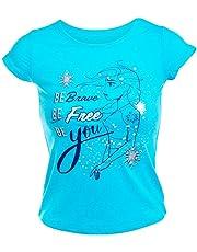 Disney Frozen 2 Kids Girls Graphic Tee Shirt Elsa Be Brave Be Free Be You (3/4) Blue