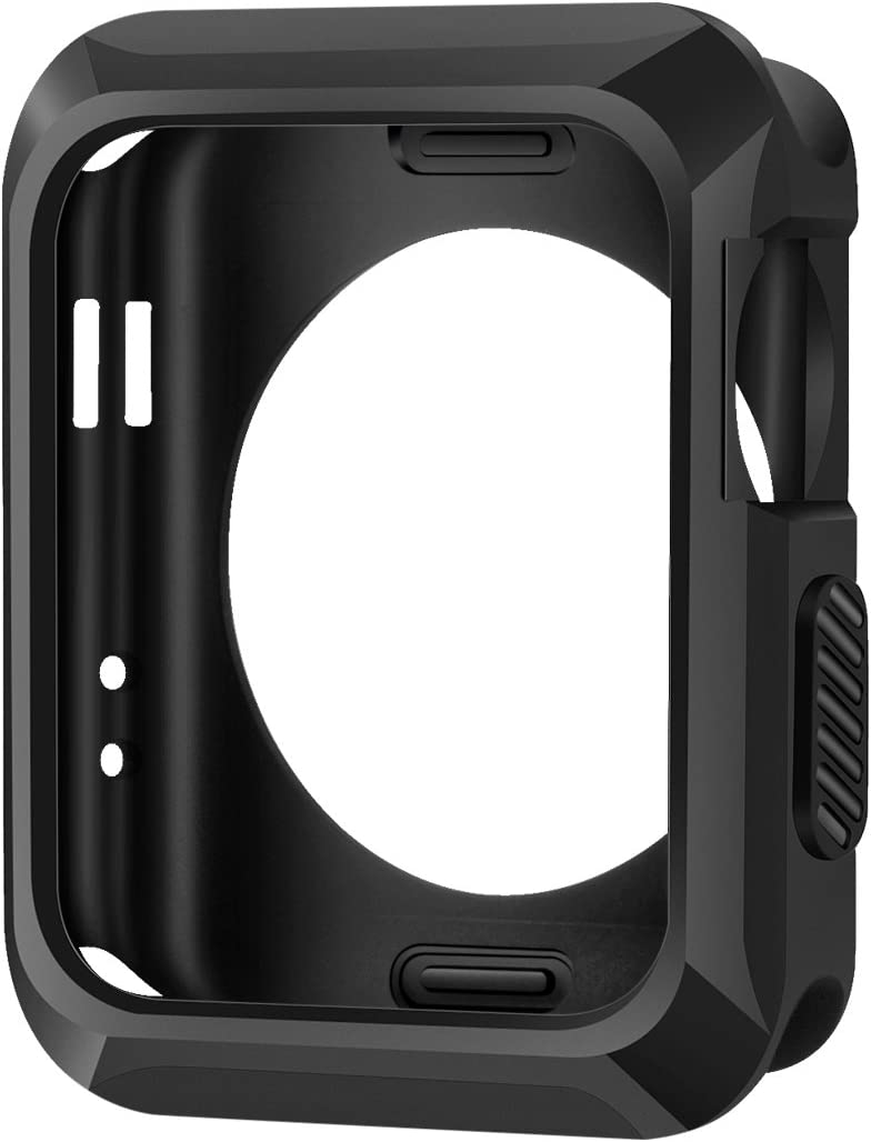 iiteeology Replacement for Apple Watch Case 42mm, Universal TPU Protective Case for Apple iWatch Series 3 Series 2 Series 1 (Matte Black)
