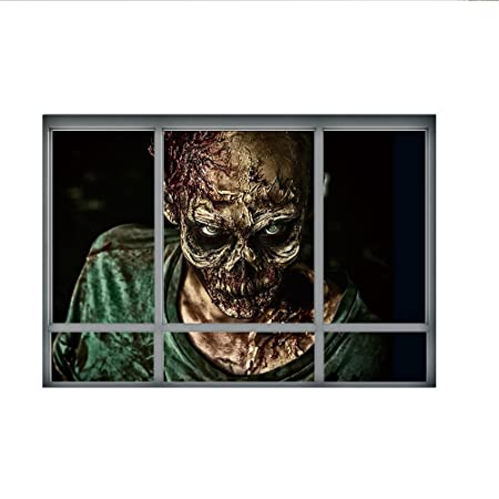 3d halloween window scene wall stickers novelty scary wall decals halloween eve party decorations skull