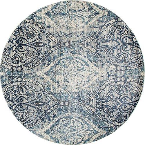 Art Carpet Karelia Collection Elizabeth Woven Round Area Rug, 8', Steel Blue/Linen/Gray