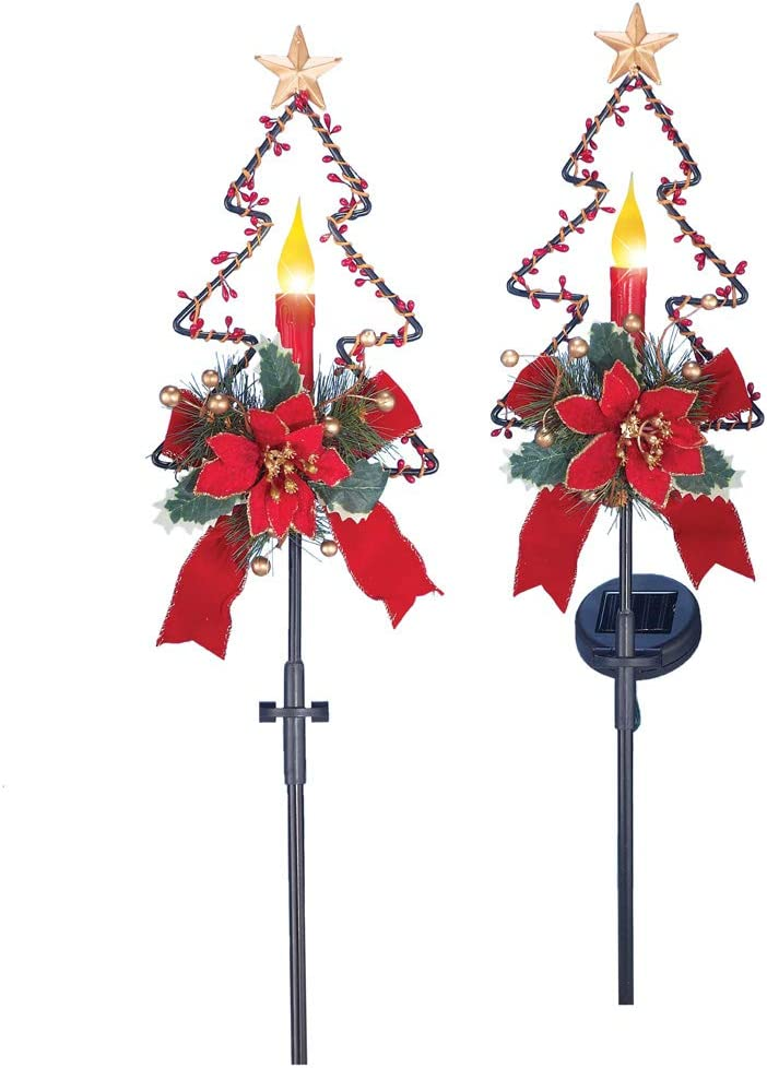 Amazon Com Collections Etc Solar Christmas Candle Garden Stakes Set Of 2 Home Kitchen