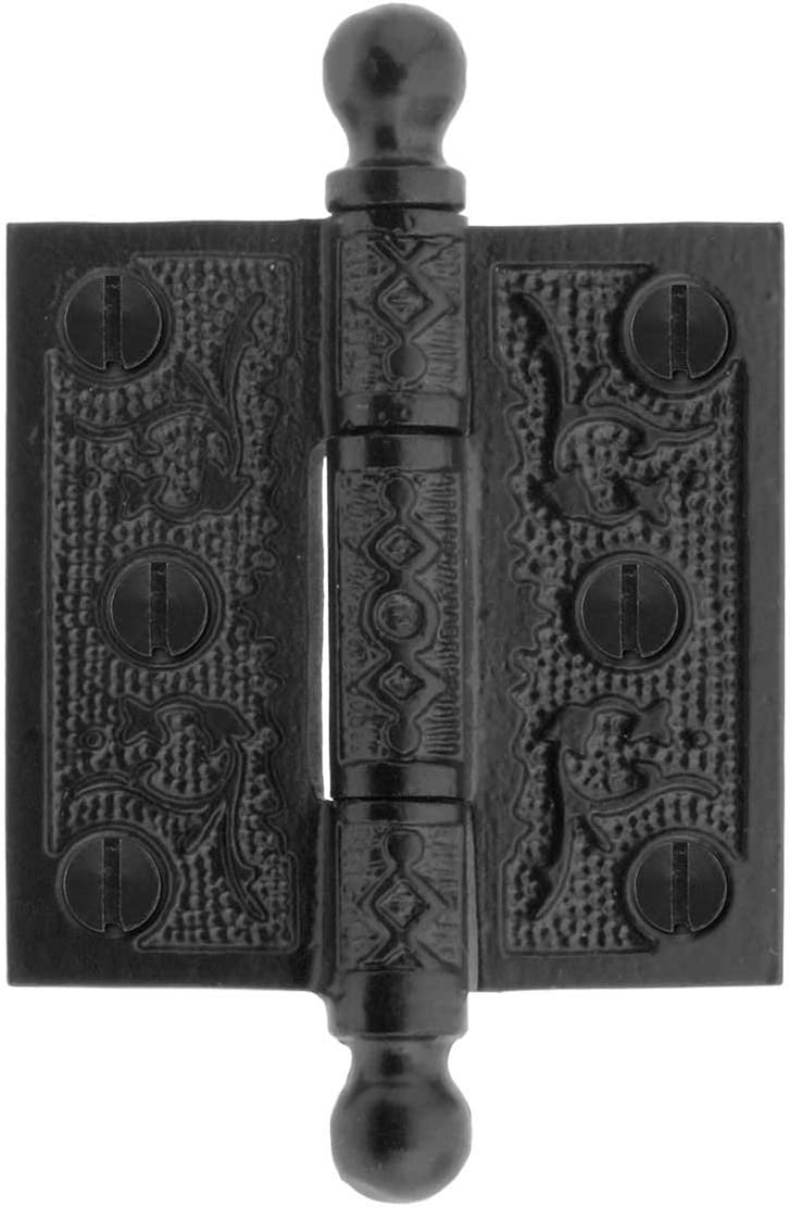House of Antique Hardware R-04DE-050-AI-BT Cast Iron 2 1//2 Ball Tip Hinge with Decorative Vine Pattern in Antique Iron