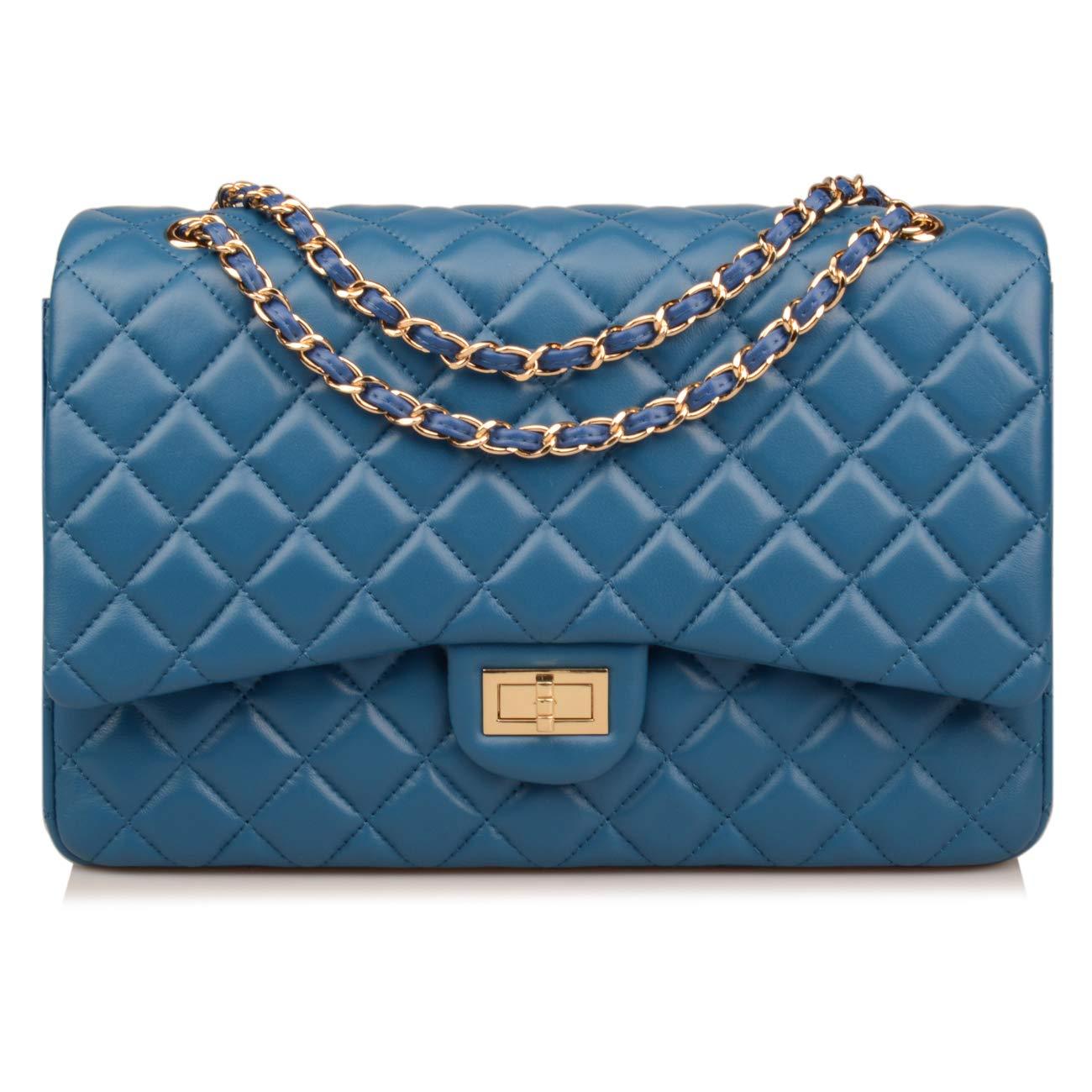 Ainifeel Women's Quilted Oversize Genuine Leather Shoulder Handbag Hobo Bag Purse