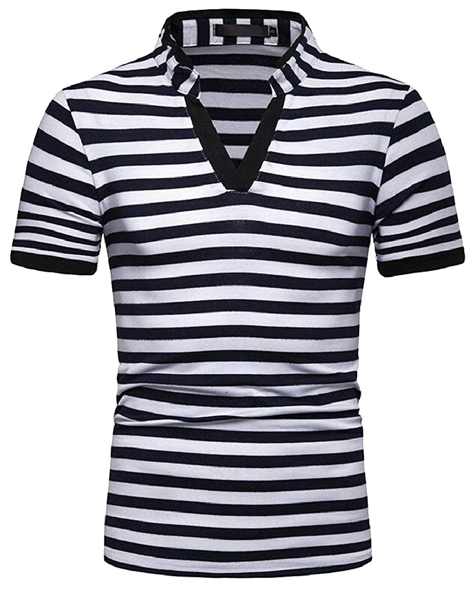 HTOOHTOOH Men Casual Slim Short Sleeves Stripe V-Neck T-Shirt Tee