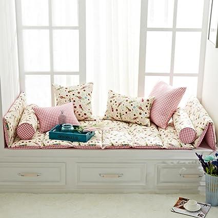 100% Cotton Double Sided Bay Window Cushion Modern Window Bench Mat Sofa  Mat Rug