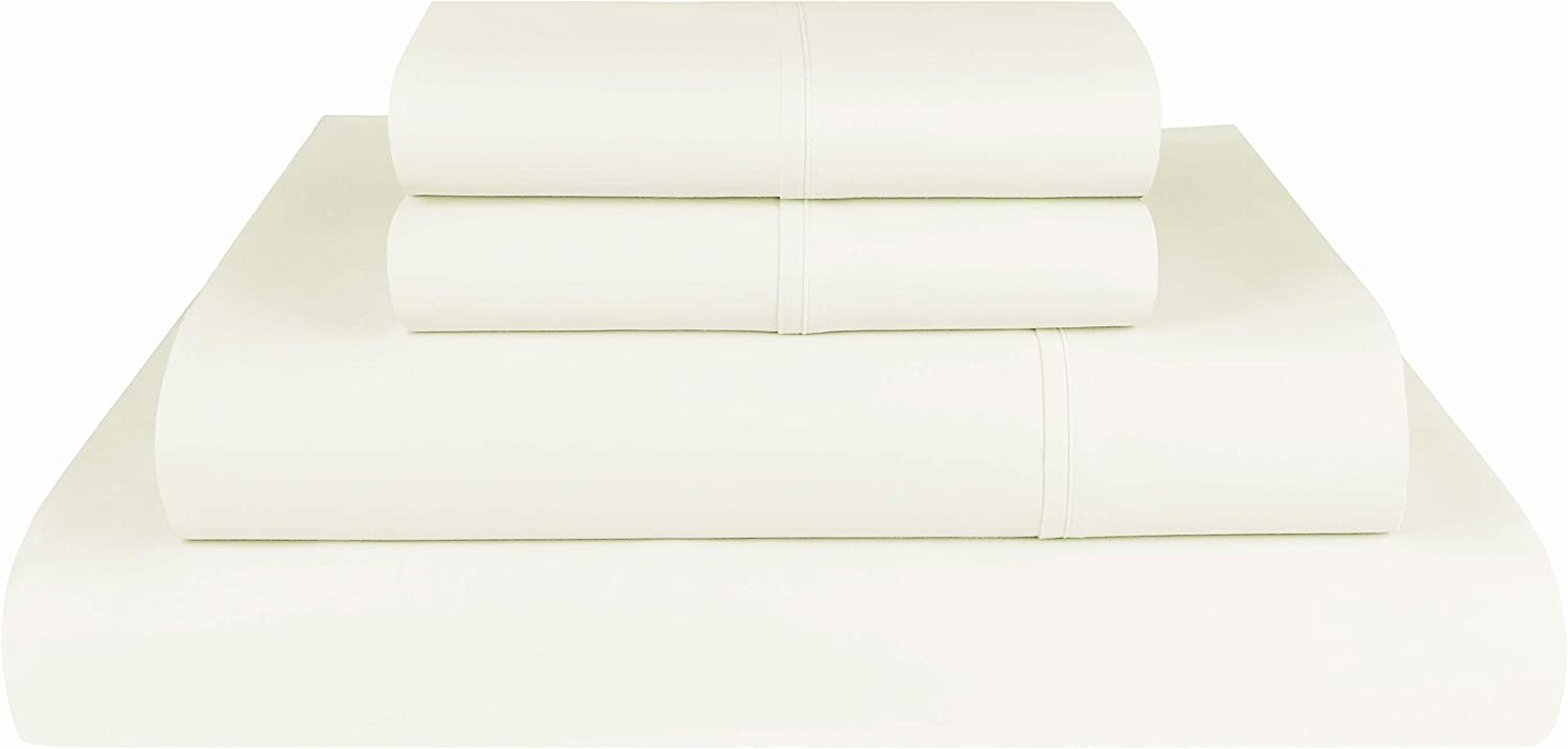 Threadmill Home Linen 600 Thread Count King Size Sheets Set - 100% Extra-Long Staple Cotton Sheets for King Size Bed, Luxury 4 Piece Set with Deep Pocket, Smooth Solid Sateen Weave, Ivory