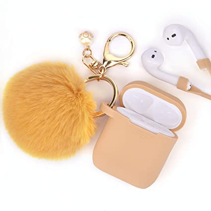 low priced 7c357 8aae3 Airpods Case - Filoto Airpods Silicone Glittery Cute Case Cover with  Keychain/Strap for Apple Airpod (Shallow Walnut)