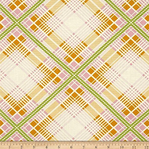 Summer Plaid Tangerine from the Up Parasol collection by Heather Bailey for FreeSpirit Fabrics - Green Orange (Yard)