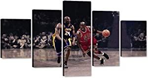 5 Panels Wall Art Air Jordan NBA Legends Michael Jordan Kobe Bryant Poster American Basketball Sports Painting Picture Print Canvas Artwork Home Decoration Stretched Framed Ready to Hang (60''Wx32''H)