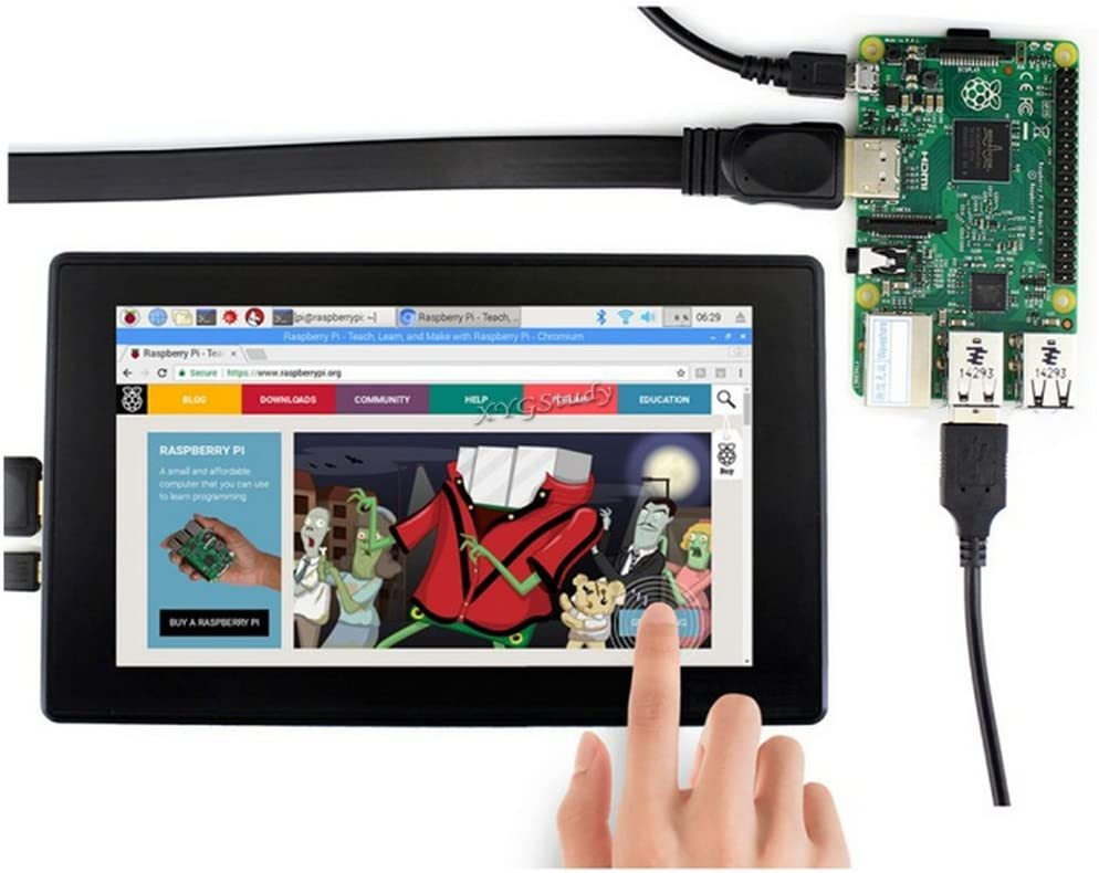 XYGStudy 7inch HDMI LCD 7 inch Touch Screen Display LCD IPS Capacitive 1024x600 Supports Raspberry Pi//BB Black//Banana Pi Jetson Nano with Toughened Glass Cover with case H