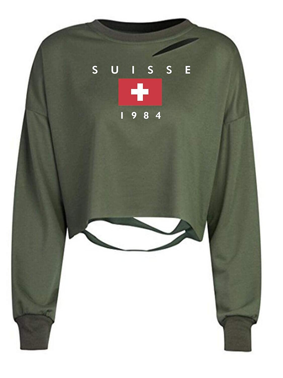 Choies Women Army Green Long Sleeve Ripped Cropped Sweatshirt Loose Pullover Crop Top