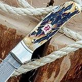 Kissing Crane Damascus / File-Worked Burnt Bone Pocket Knife