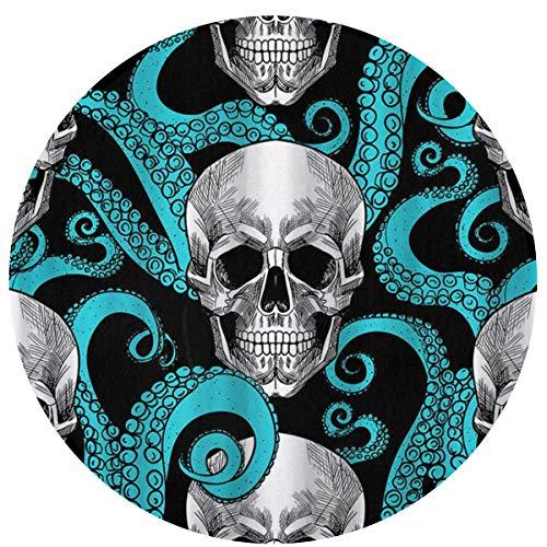 YafukeMao Blue Octopus Kraken Sugar Skull Entrance Floor Mat Doormat Rug Non Slip Mats Bathroom Kitchen Decor Area Rug Novelty Welcome Floor Mat 23.6 X 23.6 Inch]()