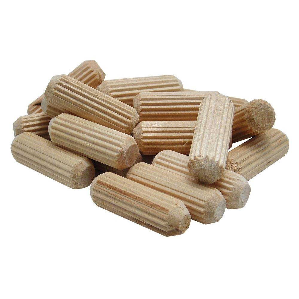 wolfcraft 2964405 Straight Fluted Wood Dowel Pins, 3/8in, 27 Pieces