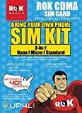 ROK Mobile CDMA SIM Card Starter Kit 3 in 1 (Nano, Micro, Standard Simple No Contract Plans starting at $10/mo, Prepaid SIM will work w/most 4G LTE Verizon Phones incld iPhone android