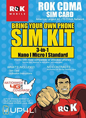 ROK Mobile CDMA SIM Card Starter Kit 3 in 1 (Nano, Micro, Standard Simple No Contract Plans starting at $10/mo, Prepaid SIM will work w/most 4G LTE Verizon Phones incld iPhone android by ROK Mobile