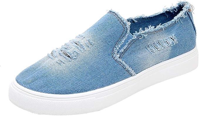 Longra ☂☂❤☃❤ Zapatillas Vaqueras de Color Liso, Calzado Deportivo cómodo para Correr: Amazon.es: Zapatos y complementos