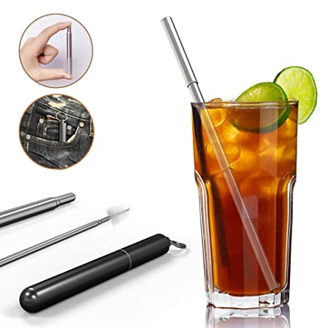 ZCOONE Stainless Steel Foldable Straw Outdoor Case /& Cleaning Brush for Travel Food-Grade 2 Pack Portable Straw with Key Chain Black /& Black Collapsible Reusable Drinking Straws