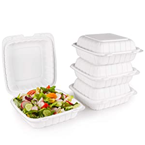 【 8-inch, 50 pieces】FULING Disposable container, Natural mineral filled, Microwave safe take out boxes.Heat resistant, no leakage, Cut resistantstable Hinged Lid, 40% natural minerals, Hybrid polypropylene, renewable and reliable