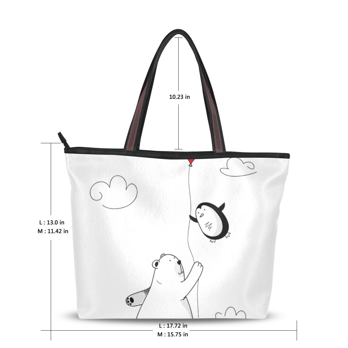 6561a5efa5 Amazon.com  Cooper girl Bear With Heart Balloon Tote Bag Top Handle Handbag  Shoulder Bag Large Capacity  Shoes