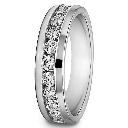 0,50 ct redondo Natural Diamond anillos de boda para hombre 14 K oro blanco