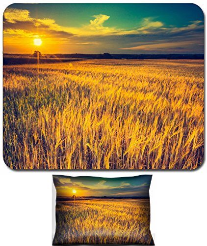 Luxlady Mouse Wrist Rest and Small Mousepad Set, 2pc Wrist Support design IMAGE: 42799338 Vintage photo of sunset over corn field at summer Beautiful grown corn ears in summertime field at sunset (Photo Summertime Sun)