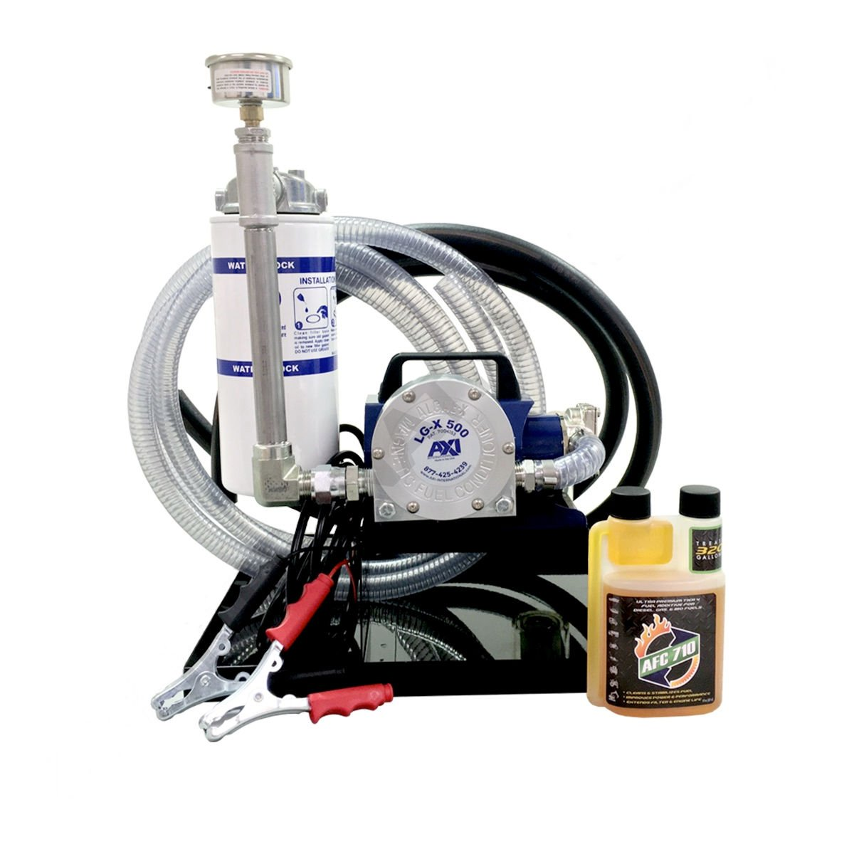 AXI International TK 240-XT 4GPM Portable 12VDC Fuel Polishing System//Kit Steel Includes DripTray//Hoses /& Clamps//WBS-3 Filter//AFC-710//LG-X 500//Pressure Gauge