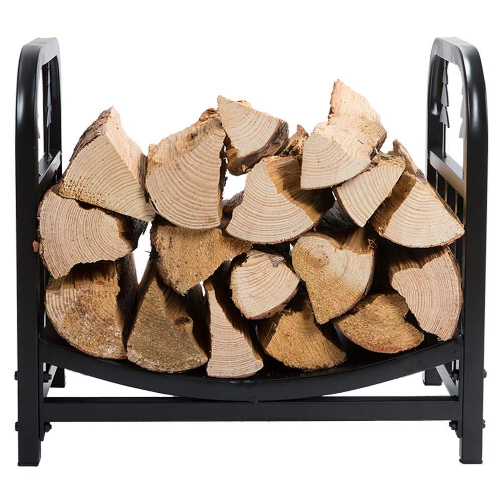 Black DOEWORKS 18 Inches Decorative Indoor//Outdoor Firewood Racks Fireside Log Rack