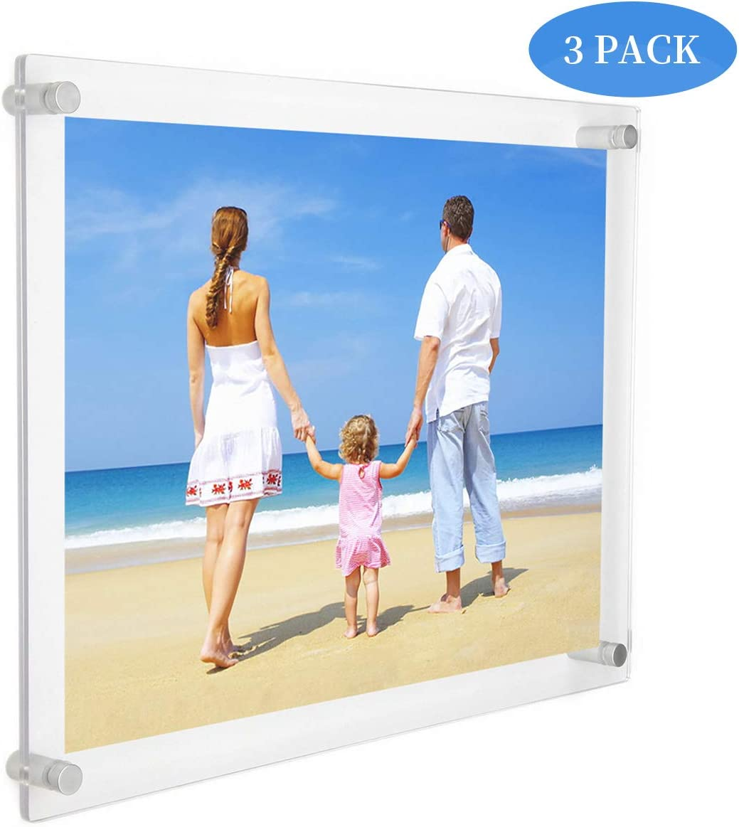 NIUBEE 3 Pack Clear Acrylic Wall Mount Floating Frameless Picture Frame for Poster Photography Frames-Double Panel - 16x20 Inches