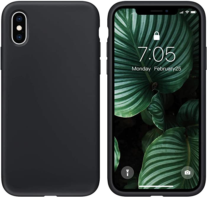 OUXUL Case for iPhone X/iPhone Xs Case Liquid Silicone Gel Rubber Phone Case,iPhone X/iPhone Xs 5.8 Inch Full Body Slim Soft Microfiber Lining Protective Case(Black)