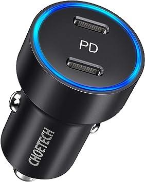 CHOETECH Cargador Coche USB C, 36W Doble Puertos PD 3.0 Cargador ...