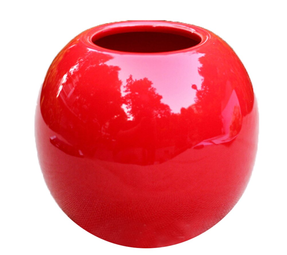 KissH Simple Continental Abstract Ball Ceramic Vase Height 8.5 cm Red - Materials: Geramic Hand Made,Surface Polishing Size: High 8.5cm,Width 9.5cm - vases, kitchen-dining-room-decor, kitchen-dining-room - 61QYqtgLysL -