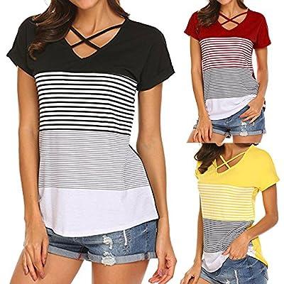 HGWXX7 Women Summer Casual Loose Stripe Splice Short Sleeve Tops Blouse T-Shirt