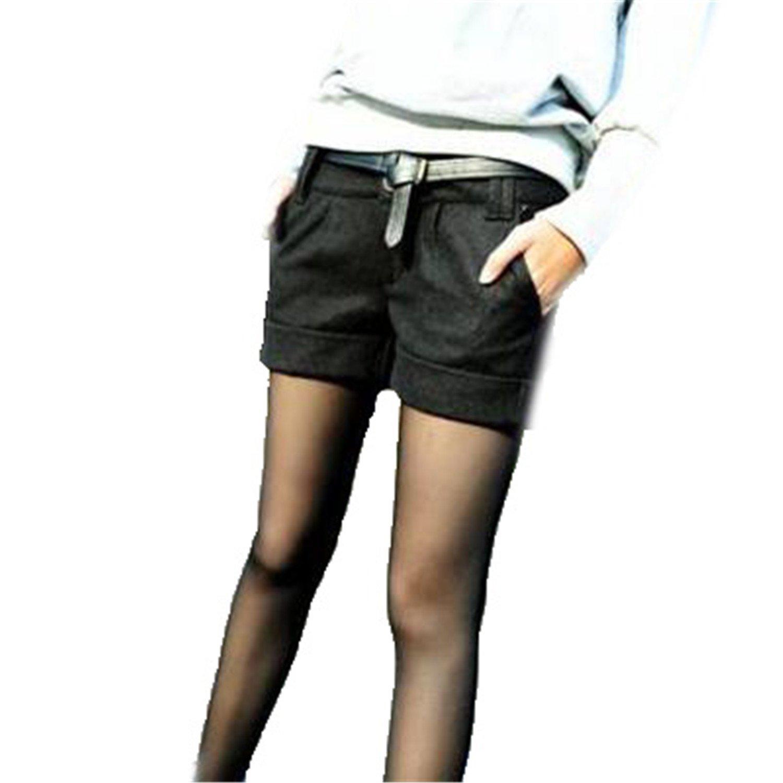 Doris Batchelor Trendy Woolen Shorts Women Casual Turn-up Straight Bootcut Shorts Female Slim Casual Zipper Pocket Shorts Black M