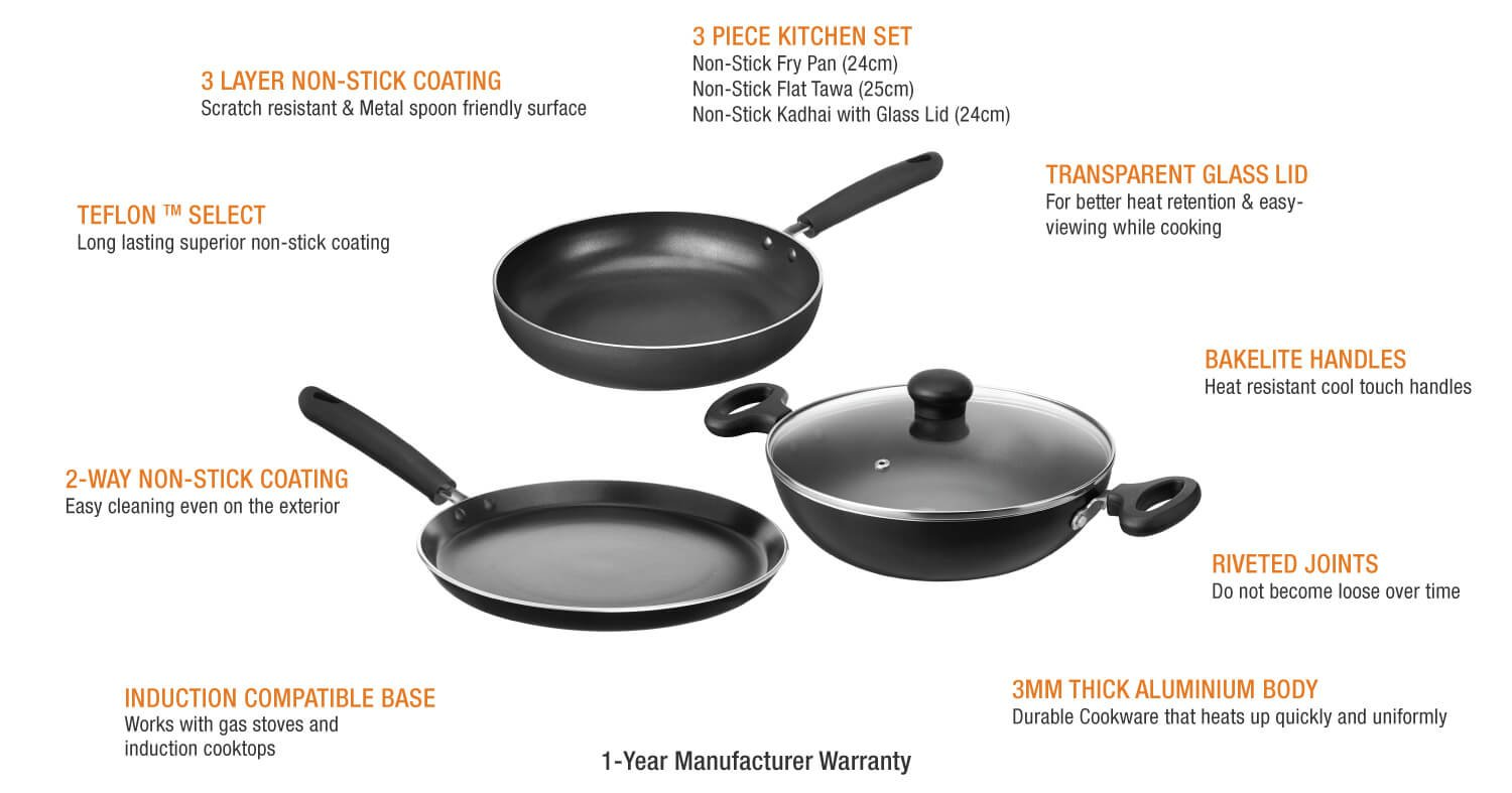 Buy Amazon Brand - Solimo Non-Stick Kitchen Set, 3-Pieces Online at ...