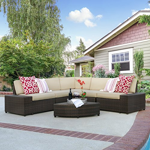 Best Choice Products 6-Piece Wicker Sectional Sofa Patio Furniture Set w/5 Seats, Corner Coffee Table, Padded Cushions, No Assembly Required - Brown