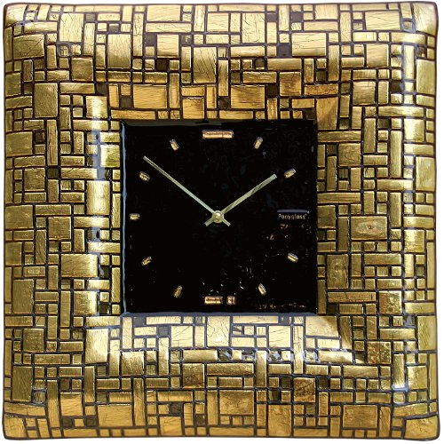 Art Glass with Gold Leaf Wall Clock Golden Labyrinth
