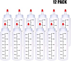 12 Pack 8 oz Plastic Squeeze Bottles,Polyethylene Durable Plastic,Clear Bottles,Red Cap,for Ketchup,Condiments,BBQ Sauce,Dressing,Barbecue,Grilling,Crafts,Syrup and More