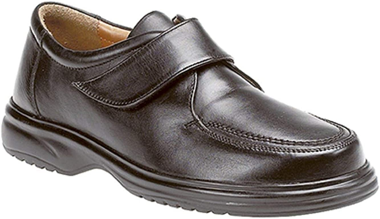 Mens Real Leather Wide Fit E Touch Fasten Formal Shoe Casual Black Shoes