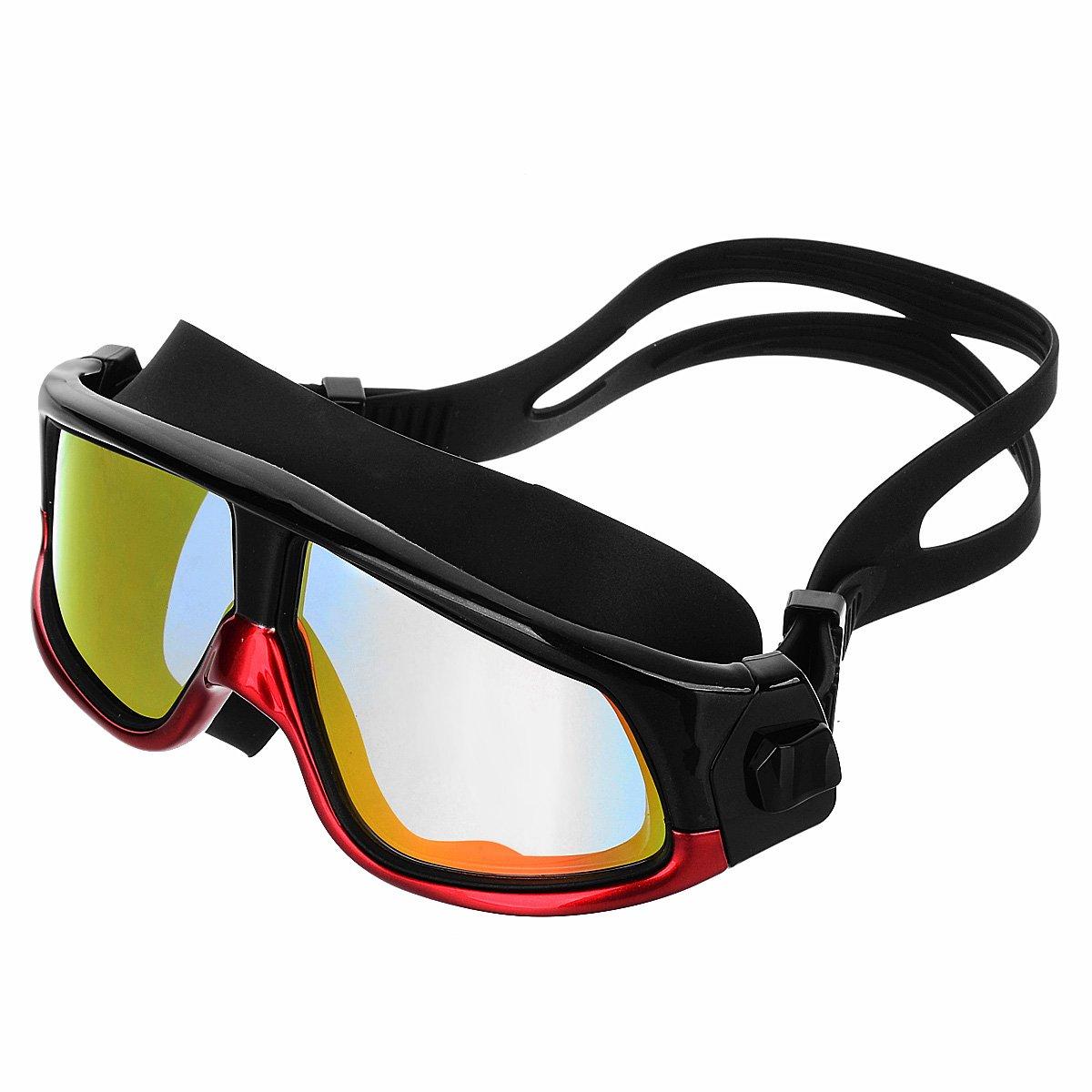 AVOLUTION Fashionable HD Antifogging Large Frame Swimming Goggles Dark red + Black