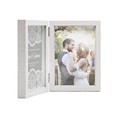 Afuly Double Picture Frame 5x7 White Wooden Hinged Photo Frames Collage Shadow Box 2 Openings Elegant Wedding