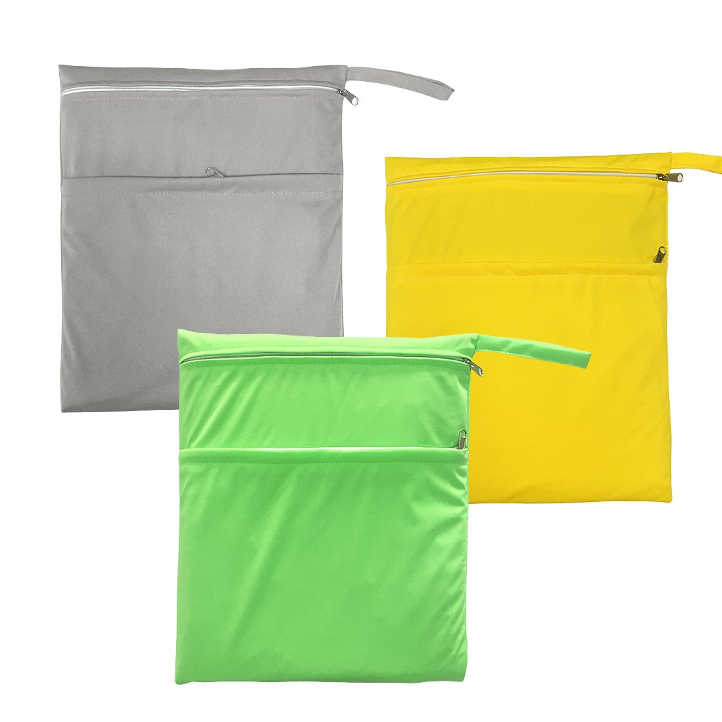 Vlokup Travel Wet Bag for Kids Women Men Reusable Waterproof Large Wet Dry Bags for Cloth Diapers Swimsuit Double Zippered Green & Grey & Yellow by Vlokup