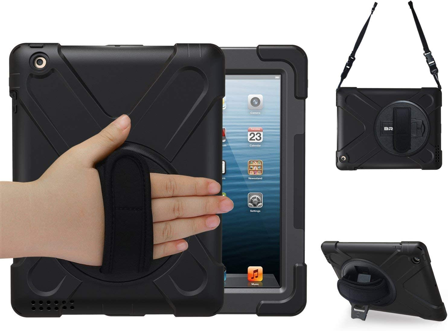 BRAECN iPad 4 Case,iPad 3 Case,iPad 2 Case   Shock-Absorption Three Layer Armor Defender Protective Case [Heavy Duty] w/360° Rotatable Built-in Kickstand/Hand Strap for iPad 2/3/4 Kids Case (Black)