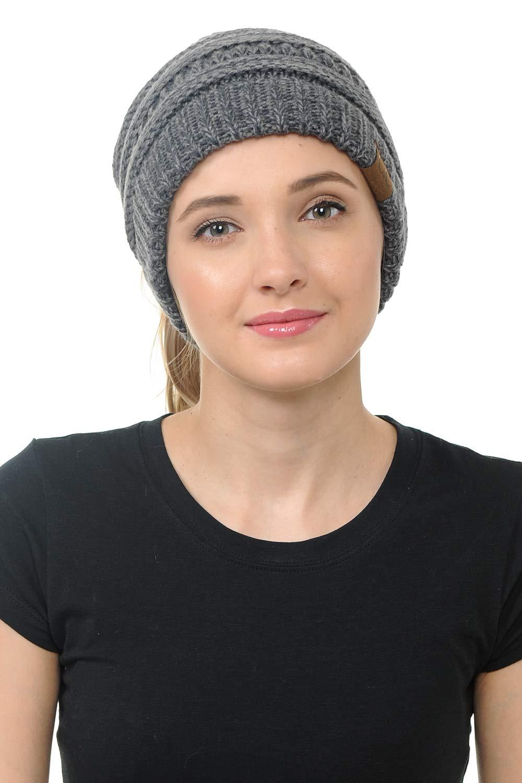 BYSUMMER CC Cable Knit Beanie Messy Bun Ponytail Warm Chunky Hat